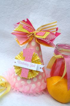 Pink Lemonade party hat in pale pink and by LittlePinkTractor. $13.50, via Etsy.