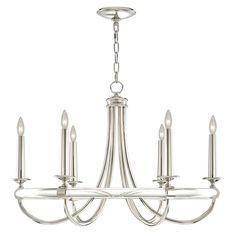 Fine Art Lamps 846140 Grosvenor Square Nickel 6 Light Chandelier