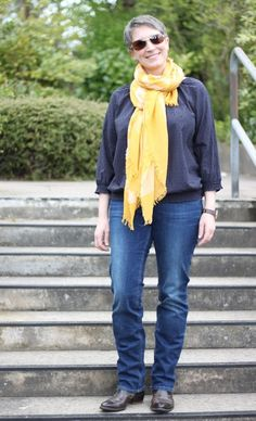 Herbstfarbtyp Ines Meyrose #ootd 20170416 Jeans und Bluse und Schal s.Oliver - gelb und blau kombiniert
