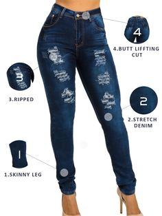 e4b35b456e2 Stylish Stretch Ripped Butt Lifting Jeans Wholesale