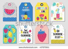 Summer gift tags and labels with fun elements. Watermelon, banana, strawberry and other fruits.