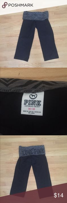 LDW sale- Victoria's Secret Pink wide leg capris Worn only once Victoria's Secret Pink wide leg capris. Tight on thigh and open up at knee. Love pink on back of grey waistband. Size medium Victoria's Secret Pants Track Pants & Joggers