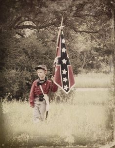 Confederate Flag Boy by elizabethnovak.deviantart.com Southern Heritage, Southern Pride, Confederate States Of America, Confederate Flag, American Civil War, American History, Song Of The South, Civil War Photos, Old West