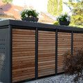 Müllhauschengalerie – Ulrich Haakes Garden variety - All About Outdoor Bike Storage, Outside Storage, Backyard Storage, Backyard Sheds, Outdoor Sheds, Backyard Landscaping, Bin Store, Modern Shed, Bike Shed