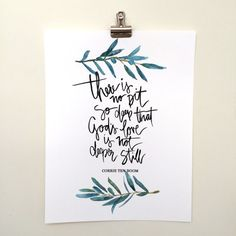 Hand Lettered & Watercolor Art Print Corrie ten Boom by AprylMade Scripture Painting, Painting On Wood, Corrie Ten Boom, Old Barn Wood, Video Games For Kids, Diy Canvas Art, Drawing For Kids, Gods Love, Cool Words