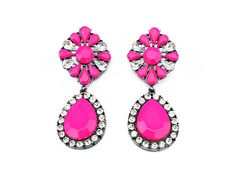 Large statement earrings pink resin beads dangle drop by eBijoux, $10.99