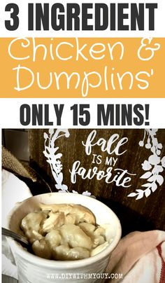 """This QUICK AND EASY CHICKEN & DUMPLINGS recipe only takes 15 minutes and will taste just like your grandmother's """"made from scratch"""" version."""
