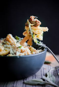 Strozzapreti with Pork Sausage, Shaved Brussels Sprouts, and Sage   Blogging Over Thyme