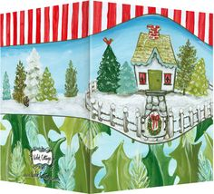 "Christmas cottage greeting card.  Message inside ""Happy Holidays"". Available retail or wholesale:  http://www.violetcottage.com/christmas/289-christmas-cottage-happy-holidays.html"