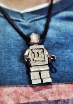 Lego puppet pendant. for someone who is a lego enthusiast. or just for someone special, like your son or daughter. The text on back and front can be adjusted.  product is produced by 3d printing on shapeways.com. A real personalized product made in the future and various materials.  Order on etsy  TWINART Making products personal