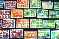 Benodigdheden: wit tekenpapier op A4 formaat plakkaatverf kwasten papieren doekjes en potten water lijm en schaar wit papier als achte... Art For Kids, Crafts For Kids, Arts And Crafts, Art Classroom, Art School, New Art, Camouflage, Quilts, Artist