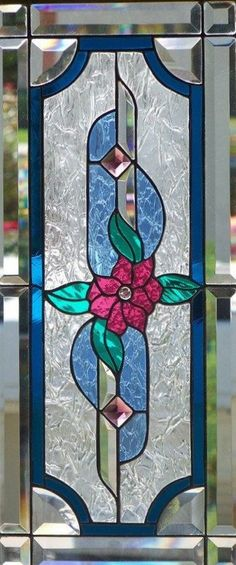 Stained Glass Window Hanging by StevesArtGlass on Etsy Stained Glass Cabinets, Stained Glass Door, Stained Glass Flowers, Stained Glass Designs, Stained Glass Panels, Stained Glass Projects, Stained Glass Patterns, Leaded Glass, Mosaic Glass