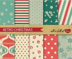 Christmas Retro Pattern Pack by All is full of Love on Creative Market