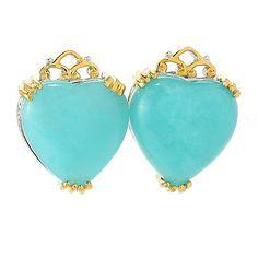 154-776 - Gems en Vogue 12mm Heart Shaped Amazonite Stud Earrings
