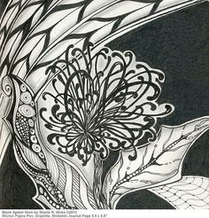 Black Spider Mum, Sharla R. Hicks © 2012, example of Zentangle Inspired Art covered in Zentangle Botanical Class taught at Soft Expressions in Anaheim California via Flickr