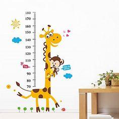 Jirafa 1PCS colorida etiqueta de la pared para los niños de medida Altura – USD $ 3.59