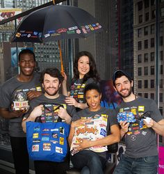 Broadway Cares/Equity Fight AIDS; Even Broadway stars love the Broadway Cares Collection! Kyle Scatliffe (The Color Purple), Alex Brightman (School of Rock), Ruthie Ann Miles (The King and I), Reneé Elise Goldsberry (Hamilton) and Adam Kantor (Fiddler on the Roof)