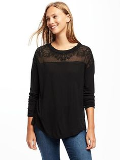 Relaxed Embroidered-Yoke Jersey Top | Old Navy