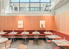 Modernist Heroine Restaurant & Bar by Modiste, Rotterdam – Design. Pub Design, Bar Interior Design, Accent Chairs For Living Room, Formal Living Rooms, Rotterdam Restaurant, Metal Window Frames, Lunch Room, Cafe Bar, Commercial Interiors