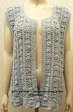 3d0d45d05d8b8 free women s sleeveless cardigan crochet pattern with fantasy stitch Crochet  Poncho
