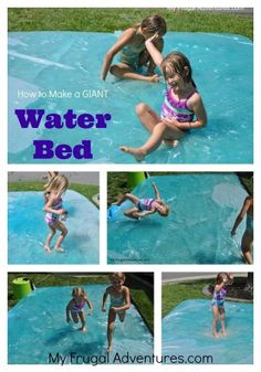 How to Make a Giant Water Bed- for just a few dollars you can make a giant outdoor water bed for the kids to play. You won't believe how much fun this is- perfect for parties or playdates!