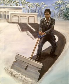 16 x 20 print.Tony Montana always gets excited when it snows. He is ready for a blizzard with his razor blade snow shovel. Scarface Poster, Scarface Movie, Art Pictures, Funny Pictures, 2pac Pictures, Al Pacino, Dope Art, Film Serie, Gangsters