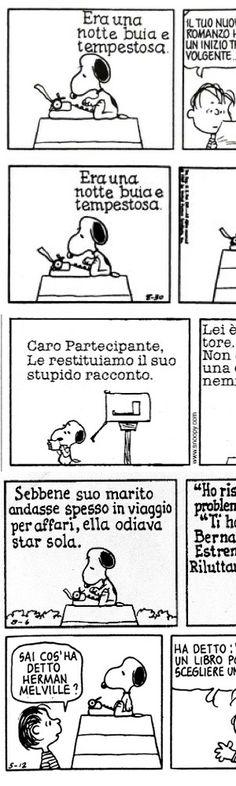 Cinque fantastiche strisce con Snoopy scrittore