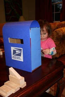 DIY mailbox. Great way to help teach community helpers- have all the kids in the daycare send a letter to their parents/friends and we will deliver them!