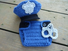 Going to order this for Jerseys newborn pics!! Going to make the handcuffs pink though! Custom Crochet Little Policeman Set by CricketCreations on Etsy, $50.00
