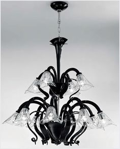 Excellent and artistic flower shape Murano glass chandelier in combination of black and clear Murano glass