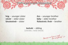 húg – younger sister nővér – older sister öcs – younger brother báty – older brother https://dailymagyar.wordpress.com/2015/02/12/youve-got-to-love-hungarian-d-42/ #Hungarian #family #brother