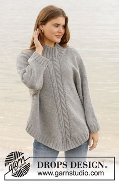 Did you know there are over 200 DROPS catalogues filled with thousands of free knitting patterns and crochet patterns for the whole family? Knitting Patterns Free, Free Pattern, Langer Mantel, Pullover, Drops Design, Knitting For Beginners, Grey Hoodie, Crochet Clothes, Nepal