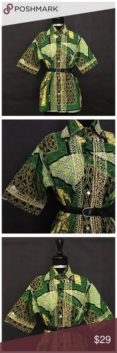 """Green African Print Blouse This is a gorgeous Green African Print Ladies Button up blouse.   Size: Small-Medium  MEASUREMENTS - Length: 29 inches - Bust: 20 1/2 inches  **This item retails for $50.   (This is a """"gently used"""" item)  This featured item is in overall good/excellent condition. It just requires slight re-stitching & contains a sticker that can be removed. (87%) (belt NOT included) Tops Blouses"""