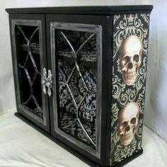 Gothic Home Decor - Gothic Cabinet - Skull Decor Skull Furniture, Gothic Furniture, Furniture Decor, Painted Furniture, Furniture Stores, Cheap Furniture, Goth Home Decor, Diy Home Decor, Skull Decor