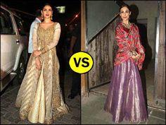 We saw a wardrobe brawl between Malaika Arora Khan & Aditi Rao Hydari in Diwali party. Pick the best, Malaikas Raw Mango lehenga or Aditis anarkali gown. Anarkali Gown, Lehenga, Kalamkari Dresses, Diwali Party, Celebs, Celebrities, Latest Fashion, Personal Style, Bollywood
