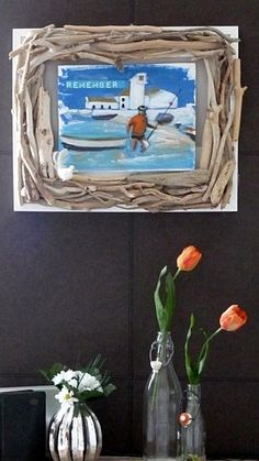 Painting with driftwood border