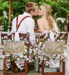 Mr And Mrs Chair Banner Set Garland Sign Rustic Vintage Wedding Party Decoration & Garden Farm Wedding, Rustic Wedding, Dream Wedding, Wedding Day, Chic Wedding, Wedding Reception, Wedding Signs, Summer Wedding, Wedding Flowers