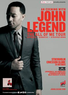 JOHN LEGEND  | 20 okt | Stockholm, @GlobeArenas | #artwork #JohnLegend (@johnlegend @NRJSweden)