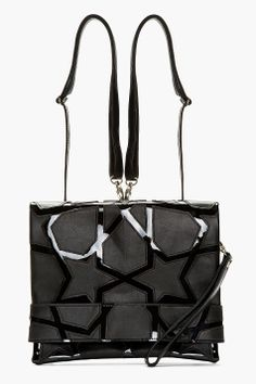 KTZ Black Leather Star Cut Out Convertible Clutch