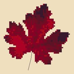 Red Leaf free cross stitch pattern