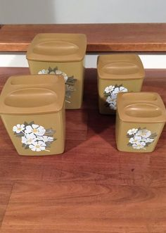 Vintage 1970s Brown Set Of Four 4 Retro Plastic Kitchen Canisters With White Fl