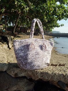 This is my 2 Strand Tote Bag. As the name goes I made this with two strands of yarn in Red Heart Love Pewter and White. Bu...