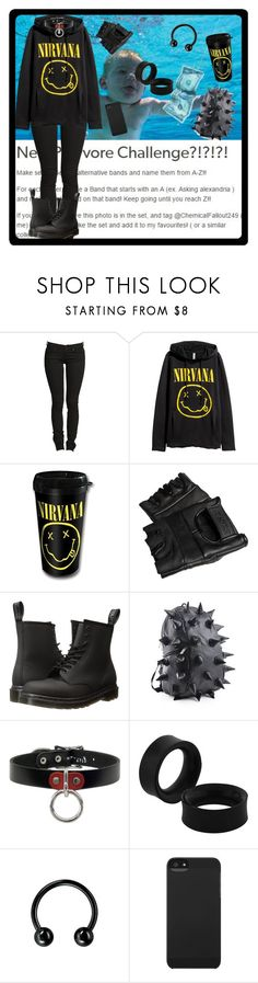"""N is for Nirvana"" by chemicalfallout249 on Polyvore featuring H&M, Dr. Martens, Incase, black, Punk, rock, grunge and alternative"