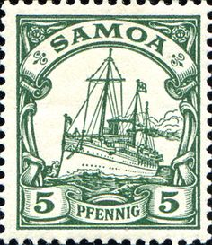 """Samoa 1900/1901 Yacht """"Hohenzollern II"""" [MiNr 8, Sc 58] 5pf"""
