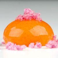 "Molecular Gastronomy ""Carrot, Orange & Mango Spheres with Rose Crystals"""