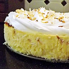 Coconut cheesecake - Gluten free - The crust is coconut flakes instead of graham crackers - Must try this!