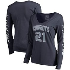 df56842bb NFL Pro Line by Fanatics Branded Ezekiel Elliott Dallas Cowboys Women s Navy  Heartthrob Name   Number V-Neck T-Shirt