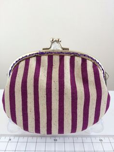 Free shipping - Handmade Coin Purse in Purple Striped on Etsy, $159.24 HKD