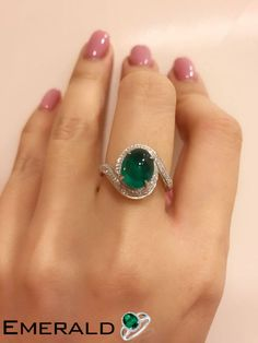 Vivid green oval cabochon emerald and diamond ring , the color is really pretty . - Fine Jewellry designed by KY rings aesthetic decorations Emerald Jewelry, Diamond Jewelry, Jewelry Rings, Fine Jewelry, Jewellery, Emerald Rings, Black Jewelry, Simple Jewelry, Pendant Jewelry