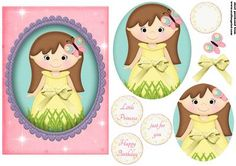Little princess yellow on Craftsuprint designed by Andrea Hippenstiel - 5 x 7 inch card topper sentiments used happy birthday, little princess, just for you and one blank - Now available for download!